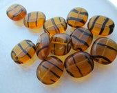 Vintage Czech Tortoise Glass Oval Beads 12Pcs.