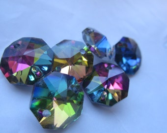 Medium Vitrail Crystal 14mm Two Hole Octagonal Prisms 6 Pcs.