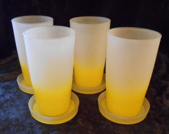 Mid Century Modern Frosted Yellow Glass Tumblers With Matching Coasters Barware Patio