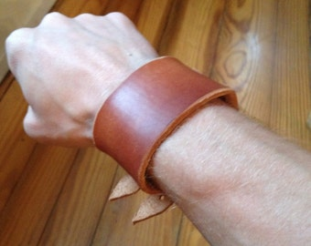Celtic Leather Cuff Bracelet Coffee Dyed