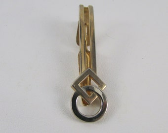Vintage Swank Geometric Silver and Gold Tone Tie Clip, Vintage Men's Jewelry, Vintage Tie Clasp