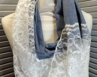 White Lace Infinity Scarf Blue Cotton Circle Scarf (itm228)