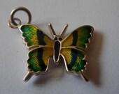 Butterfly Charm Silver Guilloche Enamel BEAUTIFUL