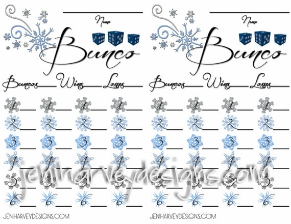 Winter Bunco Score Sheet