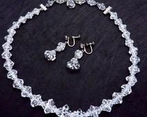 Vintage Elco Sterling Silver Rock Crystal Necklace Earrings Original Box 19036