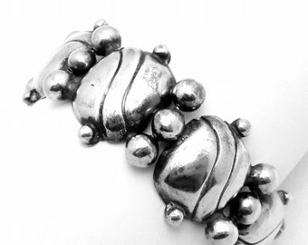 Vintage William Spratling Taxco Mexican Sterling Silver Heavy Pillow Bracelet 20410