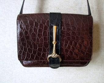Designer Handbag Rodo Purse Leather Shoulder Bag Vintage 70s 80s dark brown black elegant high fashion hipster moc croc reptile skin