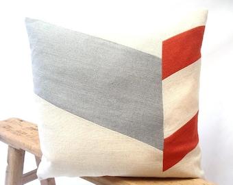 Chevron Pillow Cover/Grey/Marsala/Cream/Modern/Minimalistic/Stylish Accent Pillow/New Collection/Zigazag Studio Design
