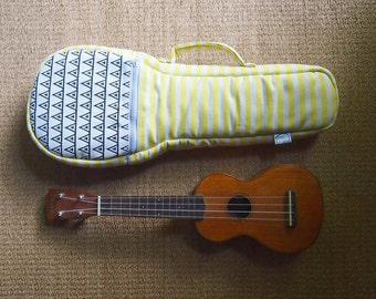 Soprano ukulele case - Yellow and White Stripe Ukulele Bag (Ready to ship)