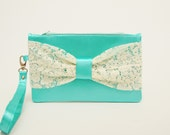 Blue ,aqua,cyan  Clutch with  ivory Bow wristelt  lace clutch,bridesmaid gift ,wedding gift ,make up bag,cosmetic bag