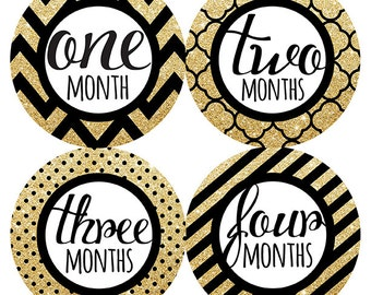 FREE GIFT, Baby Month Stickers Girl, Black, Gold, White, Monthly Baby Stickers Girl, Baby Photo Prop, Baby Shower Gift, Black Gold Nursery