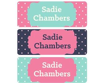 School Labels, Girl, School Name Labels, Waterproof School Labels, Personalized School Labels, Dishwasher Safe, Pink, Pink, Mint, Navy Dots