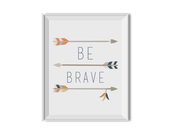 Be Brave, Tribal Nursery Art Boy, Tribal Inspirational Print, Tribal Children's Room Art, Arrows, Blue, Orange, Tribal, Boy