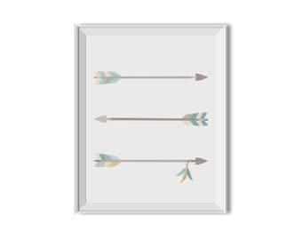 Arrows, Feathers, Tribal Art, Tribal Decor, Nursery Art, Children's Room Art, Feathers, Arrows, Mint, Teal, Tribal