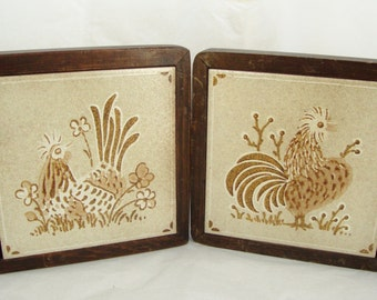Embossed Rooster Tiles, Framed Rooster Tiles, Italian Rooster Ceramic Tiles, Rooster Tile Trivets, Stoneware Roosters, Rooster Pair