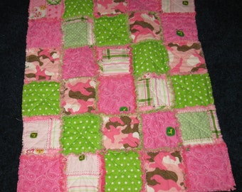 Little Pink John Deere Rag Quilt Blanket / car seat throw