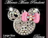 DISNeY ~ Gorgeous MINNiE MOUSE Head/Ears ~ Chunky Large Size PENDANT for Necklace ~ Sparkly Clear w AB Crystal Rhinestones & PiNK Enamel BoW