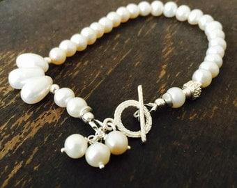 Pearl Bracelet - White Gemstone Jewelry - Beaded Jewelery - Asymmetric - Sterling Silver - Wedding - Bride
