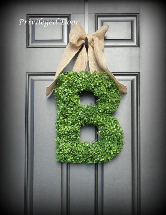 letter wreath xl faux boxwood wreath boxwood by With faux boxwood letter wreath