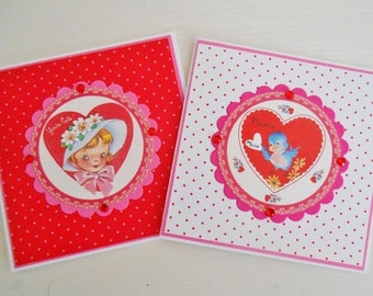 SALE  Set Of Two Retro Inspired Valentine's Notelets
