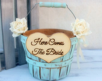 Flower Girl Basket Paper Roses Rustic Shabby Chic Wedding (Your CHOICE of Color)