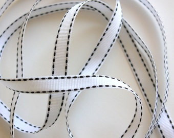 """3/8"""" Grosgrain Ribbon with Side Stitching - White with Black - 5 yds"""