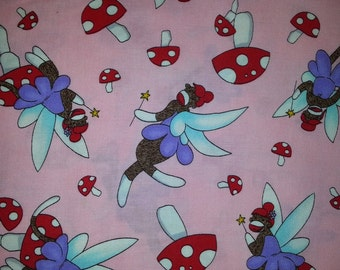 Monkey Tales by Erin michael for  Moda Sock Monkeys dancing fairy's on light pink background with mushrooms 1  yard