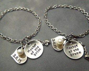 Mother of the Bride, mother of the groom hand stamped stainless steel bracelet set