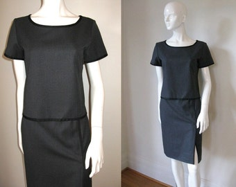 Vintage Yves Saint Laurent Gray Wool/Cashmere Pinstriped Pencil Skirt and Short Sleeve Top Set