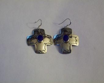 Sterling Silver Southwestern Lapis Lazuli Gem Earrings