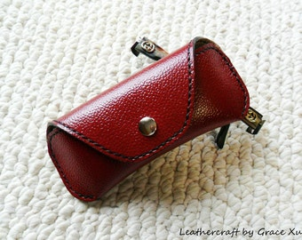 100% handmade hand stitched dark red cowhide leather eyeglasses / sunglasses case