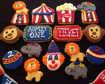 Circus Birthday or Baby Shower Cookies - Circus/Carnival themes cookies can be customized for any event