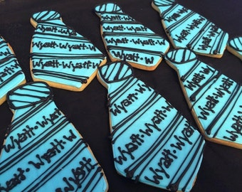 Large Tie cookies, personalized with name ~ 1 dozen