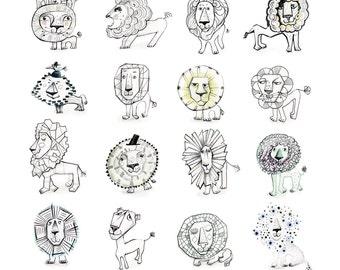24 Lion Doodles, 50x70cm
