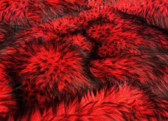 8 X 10 Husky Red Fur Faux Fur Rug Rectangle Shape