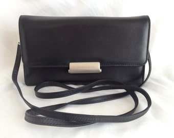 SALE 25% OFF*** Vintage Mandarina Duck Black Saffiano Leather Shoulder Bag Convertible Clutch, Made in Italy
