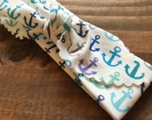 CLEARANCE   // Blue Anchors Aweigh Headband // Organic Cotton Knotted Headband