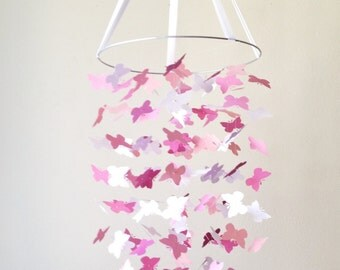The Pink Petite Butterfly Mobile / / / Nursery Decor, Photo Prop, Baby Shower Gift, Crib Mobile