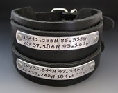 Men's Custom Leather Cuff  - Personalized Jewelry - Hand Stamped - Thick - 2 inches - Black or Brown