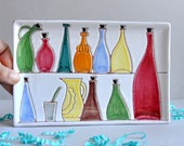 SALE 60% OFF! Mid Century Glass Bottles - Italy Ceramic Tray
