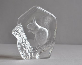 SALE 25% OFF! Sweden Squirrel Crystal Paperweight - Signed Mats Jonasson