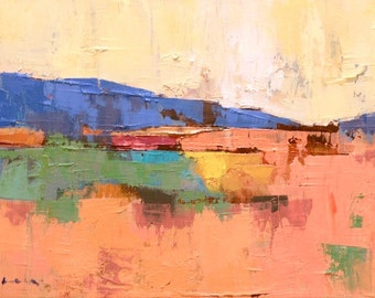 """Petrichor 71"""" Original oil landscape on canvas 12"""" x 9"""" x 1"""" Abstract, contemporary, red,blue,green, yellow SALE!!!"""