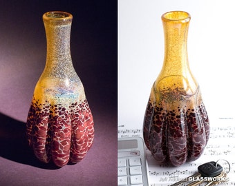 Unique Hand Blown Glass Vase - Earthy Gold and Ruby - Bulging Ribs