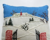 Picturesque Winter Scene Embroidered Pin Cushion Style Lavender Sachet enjoy the handwork and the artistry