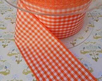 "Ribbon Gingham Orange 1 1/2"" width 5Yards"