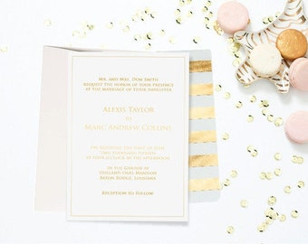 Classic Gold Foil Wedding Invitation - Sample