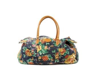 Vintage 1980's Garden Floral Rose Print Light Canvas Faux Leather Novelty Grunge Oversize Purse Travel Bag