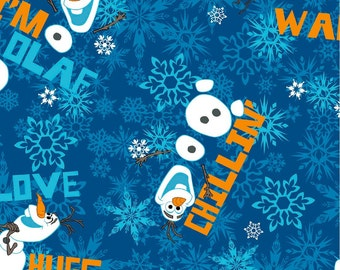 Sale Disney Frozen Olaf chillin toss cotton fabric by Spring fabric