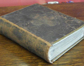 antique 1800 large leather brass bound brown holly bible Nwecastle upon tyne