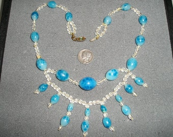 Czechoslovakia Necklace With Blue Speckled Egg Glass Beads 1930's Signed Jewelry 112